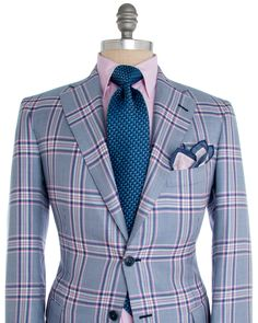 Andrea Campagna | Blue and Pink Plaid Sportcoat | Apparel | Men's