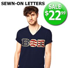 V-Neck Fraternity Tee with Horizontal Twill Letters - SALE American Apparel 2456