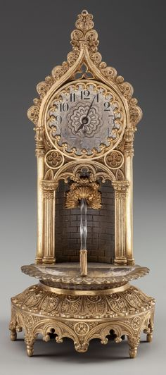 A Louis Philippe Gilt Bronze and Cut-Glass Fountain Clock, circa 1820.