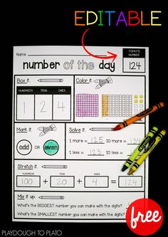 Free Number of the Day Sheet! Great for morning work, a math center, or number activity in kindergarten, first grade or second grade. Editable, morning work number of day Math Classroom, Kindergarten Math, Teaching Math, Kindergarten Morning Work, Preschool, Classroom Decor, Math Rotations, Math Centers, Maths 3e