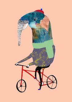 Elephant on red bike. Nursery decor kids wall art
