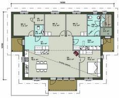 Kiille 151 Pohjapiirros, Hartman Koti, makuuhuonneet ja k+oh hyvin aseteltu. 10 m2 liian iso. Iso, Koti, Floor Plans, Layout, Houses, Model, Ideas, Homes, Page Layout