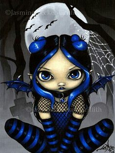 Pipistrello Bat Fairy - Jasmine Becket-Griffith bats art big eyes girl gothic fairy bat wings pipistrello pipistrelle by Strangeling fantasy art Gothic Fantasy Art, Gothic Fairy, Dark Fantasy, Dragons, Kobold, Cute Paintings, Fairy Paintings, Fairy Pictures, Eye Art
