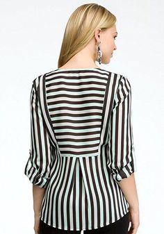 bebe Tricolor Stripe V-neck Tunic Woven Tops Tri Color Stripe 4-m at Amazon Women's Clothing store: Fashion T Shirts