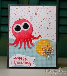 Octopus Birthday Card for STS by Katie Melhus Birthday Cards, Happy Birthday, Cool Sketches, Cute Cards, Octopus, Crafty, Activities, Paper, Sweet