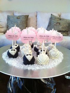 Groom & Bride Wedding Cake Pops by die1227 on Etsy, $25.00