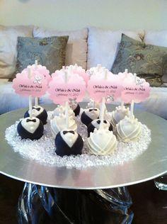 Groom & Bride Wedding Cake Pops by die1227 on Etsy, $25.00