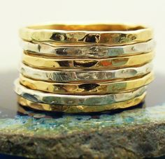Gold Band Ring Stack Hammered and Polished Mixed by Forkwhisperer