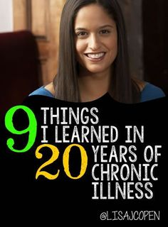"""20 YEARS of illness! and what have I learned? I have learned to push thru the pain so you have memories and to say, """"yes, please, drop me off at the door."""" And a whole lot more. Hope this article blesses you as I share what I have discovered from age 24 through the last 2 decades of #invisibleillness @lisacopen"""