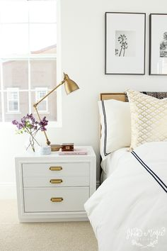 White and Gold Night Stand+Styling   Shea McGee Design --ideal bedside table.