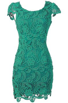 Crochet Lace Pencil Dress in Jade