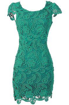 Crochet Lace Pencil Dress in Jade