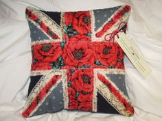 Cushion of UK flag using floral poppy fabric 14 x by StitchReigns Remembrance Poppy, Royal British Legion, Uk Flag, Small Flowers, Poppies, Product Launch, Cushions, Gift Wrapping, Throw Pillows