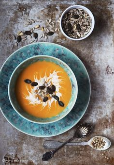 Sweet potato soup with roasted pumpkin seeds