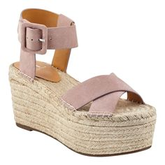 fb6e41f3cfc3 Criss-cross suede straps and braided rope covers this Randall wedge platform  espadrille sandal.