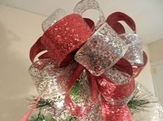 Large Christmas Tree topper bow red glitter by creativelycarole