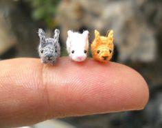 Teeny Tiny Bunny Rabbit - Micro Crochet Tiny Stuffed Animals - Set of 3 Rabbits - Made To Order