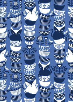 Swedish folk cats // normal scale // indigo blue background navy & white flowers bowls & cute kitties custom fabric by selmacardoso for sale on Spoonflower Textile Patterns, Print Patterns, Textile Art, Cat Fabric, Navy Blue Background, Swedish Design, Illustrations, Surface Pattern Design, Beautiful Patterns