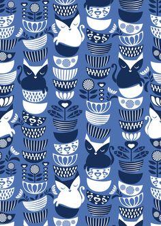 Hey folks, has anyone seen my Swedish folk cats? <br/> Sweet blue pattern with cute kitties, bowls and some Swedish motifs.
