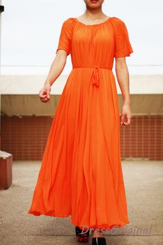 Orange short sleeve maxi dress, long chiffon dress, round neck with flowing sleeves, summer dress ★ Material : top quality chiffon ★Color: