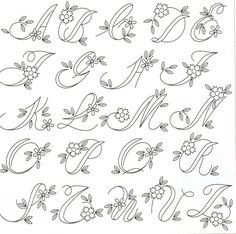 Embroidery Alphabet, Embroidery Monogram, Hand Embroidery Patterns, Embroidery Stitches, Flower Embroidery, Creative Lettering, Lettering Styles, Tattoo Lettering Fonts, Lettering Ideas