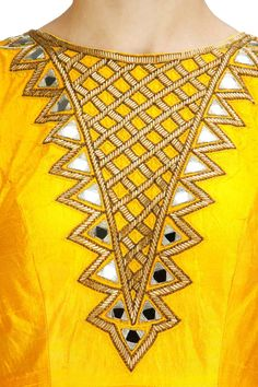 Sunny yellow two-layered mirror work anarkali set available only at Pernia's Pop-Up Shop.