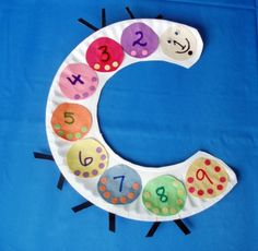 """Math/Craft: Caterpillar with numbers 1-9 or 1-10 with corresponding dots. Good idea to tie with a caterpillar/butterfly theme. Could include """"The Very Hungry Caterpillar"""" and count the types of food it eats."""