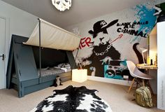 Boys Room,Tent bed and graffiti wallpaper for cool boy's bedroom