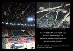Slide showing one of the 17 SFH-30 Heads used at the Olympics mounted in the Basketball arena at the London Games