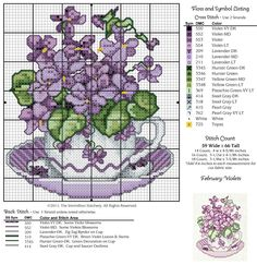 Cross-stitch A Year of Floral Teacups, part 2 - February Violets... Gallery.ru / Photo # 7 - 12 cups - irisha-ira