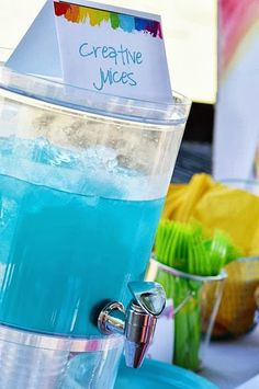 """creative juices drink for an art party (plus a cute sign that says """"food for the starving artist"""") Art Themed Party, Art Party, 9th Birthday Parties, Birthday Fun, Birthday Ideas, Artist Birthday, Just In Case, Party Time, Mad"""