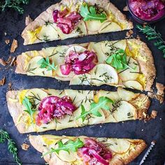 Salt & Vinegar Potato Pizza - Vegan 🍕Full recipe on the blog now - direct link in profile 🍕I hope you give it a try, as this is one of the most delicious things I have eaten in a while. And I eat a lot! 😋 Thank you for all of your amazing comments about this after seeing it on Snapchat and on my Insta Stories 💖 I really appreciate every comment. Stop reading now and go and make it. You can use a pre-made pizza base or even a tortilla if you don't know how or don't have time to make your…