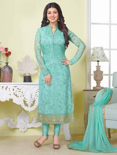 New party wear straight suit fabric georgette and embroidery work fancy look     eBay