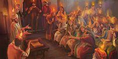 Los apóstoles y discípulos de Cristo recibiendo el espíritu santo en el Pentecostés del año33