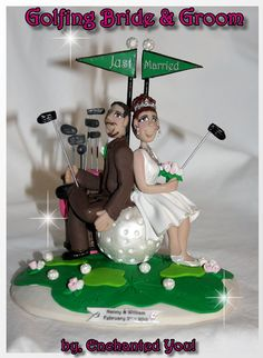 NO GOLF with Cart Bride and Groom Wedding Cake Topper Funny ...