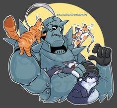 Let Alphonse Have Cats! Lan Fan, Alphonse Elric, Names Of Artists, Suit Of Armor, Fullmetal Alchemist Brotherhood, Geek Art, Memes, Anime, Geek Stuff