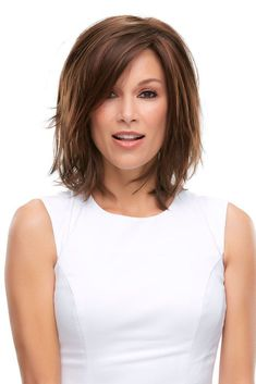 Wigs - This layered wig features a bob-style with side-swept fringe bang and a lace front hairline. Rosie is a favorite among hair loss wigs for women.