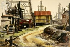 Oil Field, Signal Hill, c. 1940s, California art by Jake Lee. HD giclee art prints for sale at CaliforniaWatercolor.com - original California paintings, & premium giclee prints for sale
