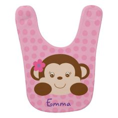 Girl Monkey Baby Bib