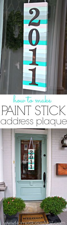 Paint Stick Art Ideas and Projects | DIY Address Plaque by DIY Ready at http://diyready.com/paint-stick-diy-projects/