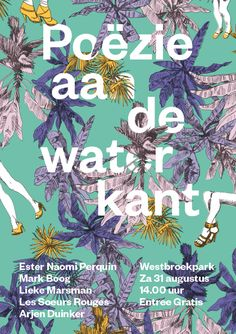 Typeface: Founders Grotesk Use: This is one out of a series of posters for Poëzie aan de waterkant (poetry at the river banks), an annual festival for poetry, spoken word and singer-songwriters in The Hague, Netherlands. Artwork 2011–2013
