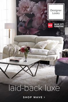 The Wave collection turns a simple house into a beautiful modern home with its cozy, intimate character and clean, polished design. Glam Living Room, Living Room Decor Cozy, Living Room Sets, Home Decor Bedroom, Living Room Designs, Glam Room, Bedroom Ideas, Living Room Flooring, Living Room Furniture