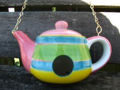 Spring Time Colors Teapot Birdhouse by LovinTheWhimsy on Etsy, $25.00