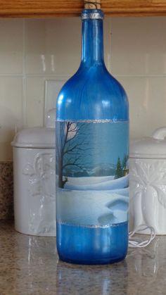 1.5 Lt  Wine Bottle Lamp Blue Frosted Bottle, Pretty Winter/Deer Scene #8 #StoneCellars
