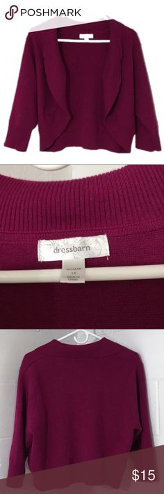 Dress Barn Plus Size Cranberry Shrug, Size 1X Dress Barn Cranberry Colored Plus Size Shrug, Size 1X, in excellent preloved condition. More measurements are available upon request and are approximate. Bundle for more savings and I'm open to offers! Dress Barn Sweaters Shrugs & Ponchos