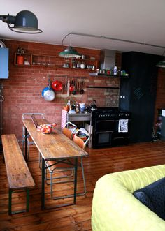 Before and after: London flat makeover from Design Sponge Tables Étroites, Narrow Dining Tables, Dining Area, Kitchen Dining, Narrow Bench, Kitchen Small, Skinny Tables, Cuisines Design, Plywood Furniture