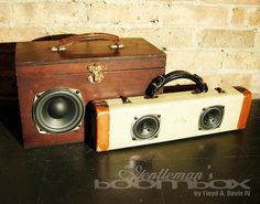With sizes ranging from the smallest of train cases to the largest of steamer trunks, each Gentleman's Boombox comes with a built in sub woofer and a 1/8′ connector for any audio device with a headphone jack.