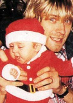 Christmas . Kurt Cobain and his daughter Frances Bean Cobain