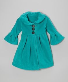 Love this Teal Swing Coat - Toddler & Girls on #zulily! #zulilyfinds