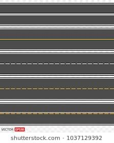 Template Set Of Straight Asphalt Roads Vector Eps 10 Road Vector Asphalt Road Free Paper Models
